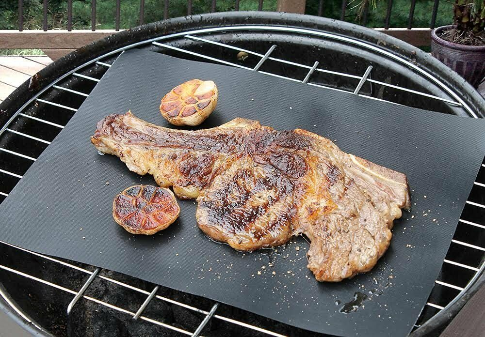 BBQ Grill Mats Set Of 3 Reusable Non Stick Grilling For