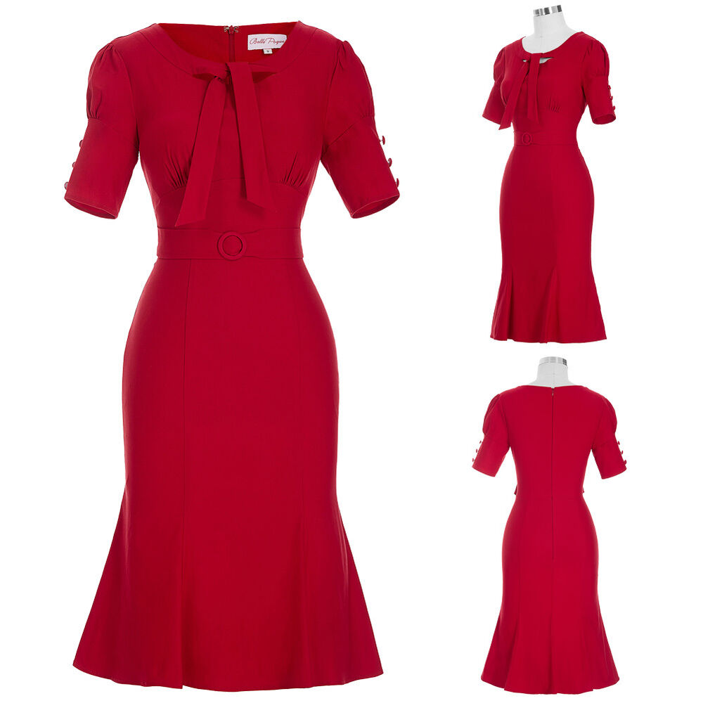 New Mothers 40s 50s Retro Vintage MIDI Pencil RED Dresses ...