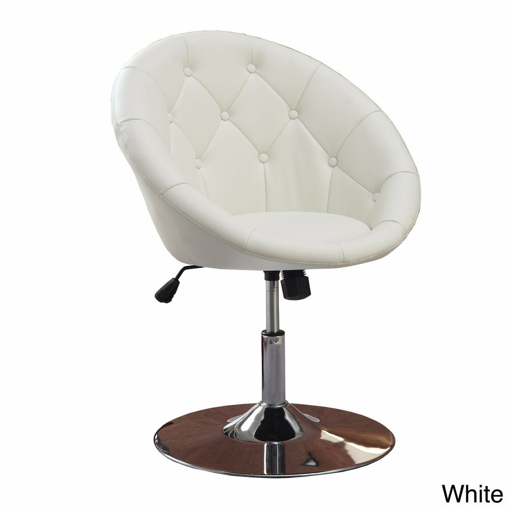 White Vanity Stool Swivel Chair Seat Bedroom Furniture Living Room Adjustable