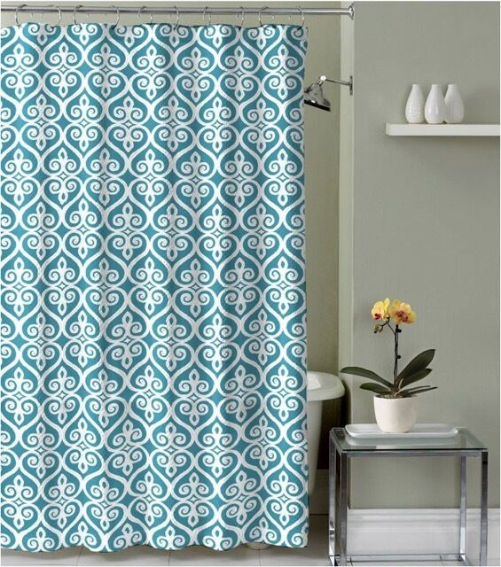 Teal Blue Beige White Decorative Fabric Shower Curtain With Hooks Ebay
