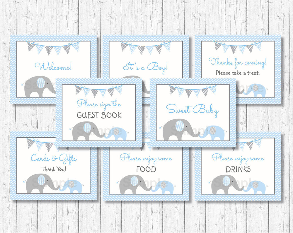 Blue Chevron Elephant Baby Shower Table Signs 8