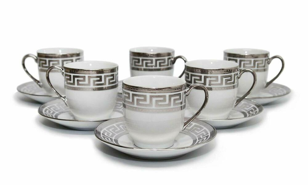 Royalty Porcelain 12 Pc Espresso Coffee Set Silver Plated