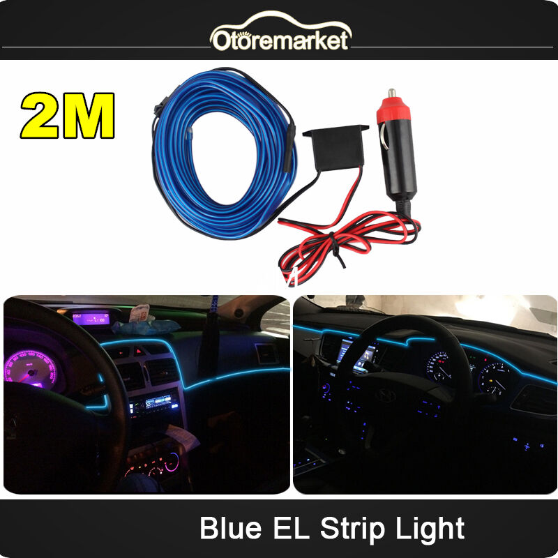 blue 2m neon led light glow el wire string strip rope tube car interior decor ebay. Black Bedroom Furniture Sets. Home Design Ideas