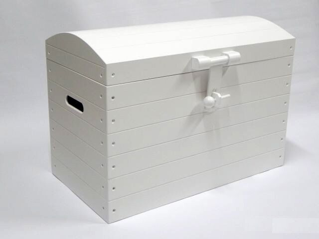 White Wooden Trunk Chest Storage Toy Box Bed Furniture