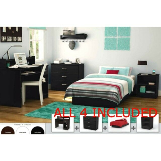 Full Bedroom Furniture Set Bed Nightstand Armoire Dresser Study Desk Storage Kid Ebay