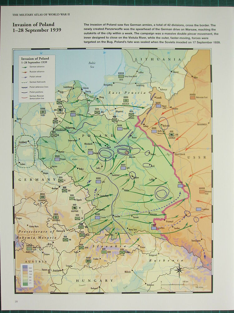 Ww2 Wwii Map Invasion Of Poland 1 28 September 1939 German Russian