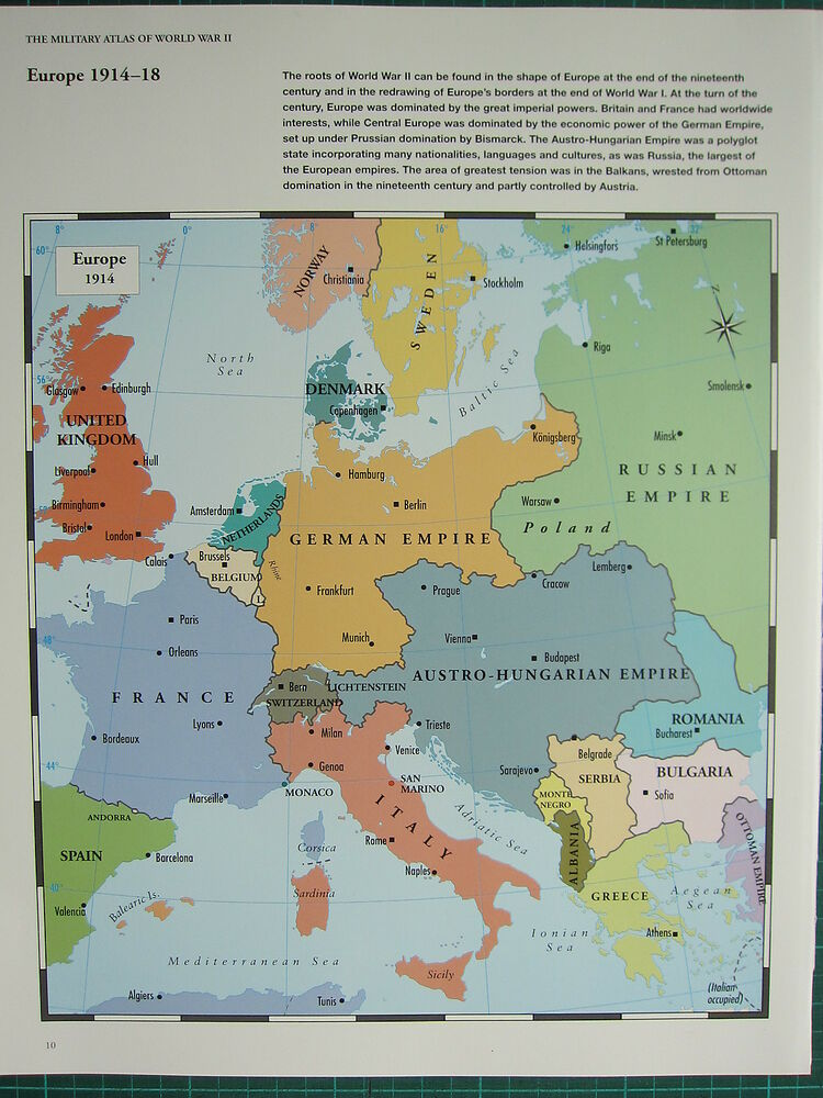 WW2 WWII MAP ~ EUROPE 1914-18 THE ROOTS OF WAR GERMAN EMPIRE BALKANS ...