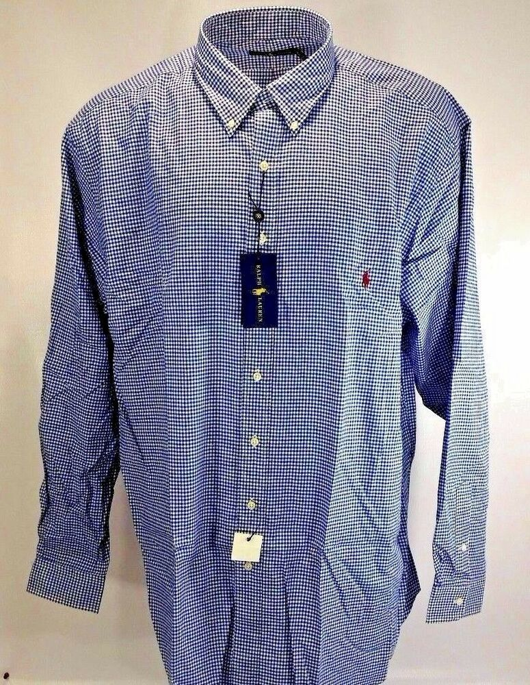 Ralph lauren mens big tall cotton twill checked check for Mens 5x polo shirts
