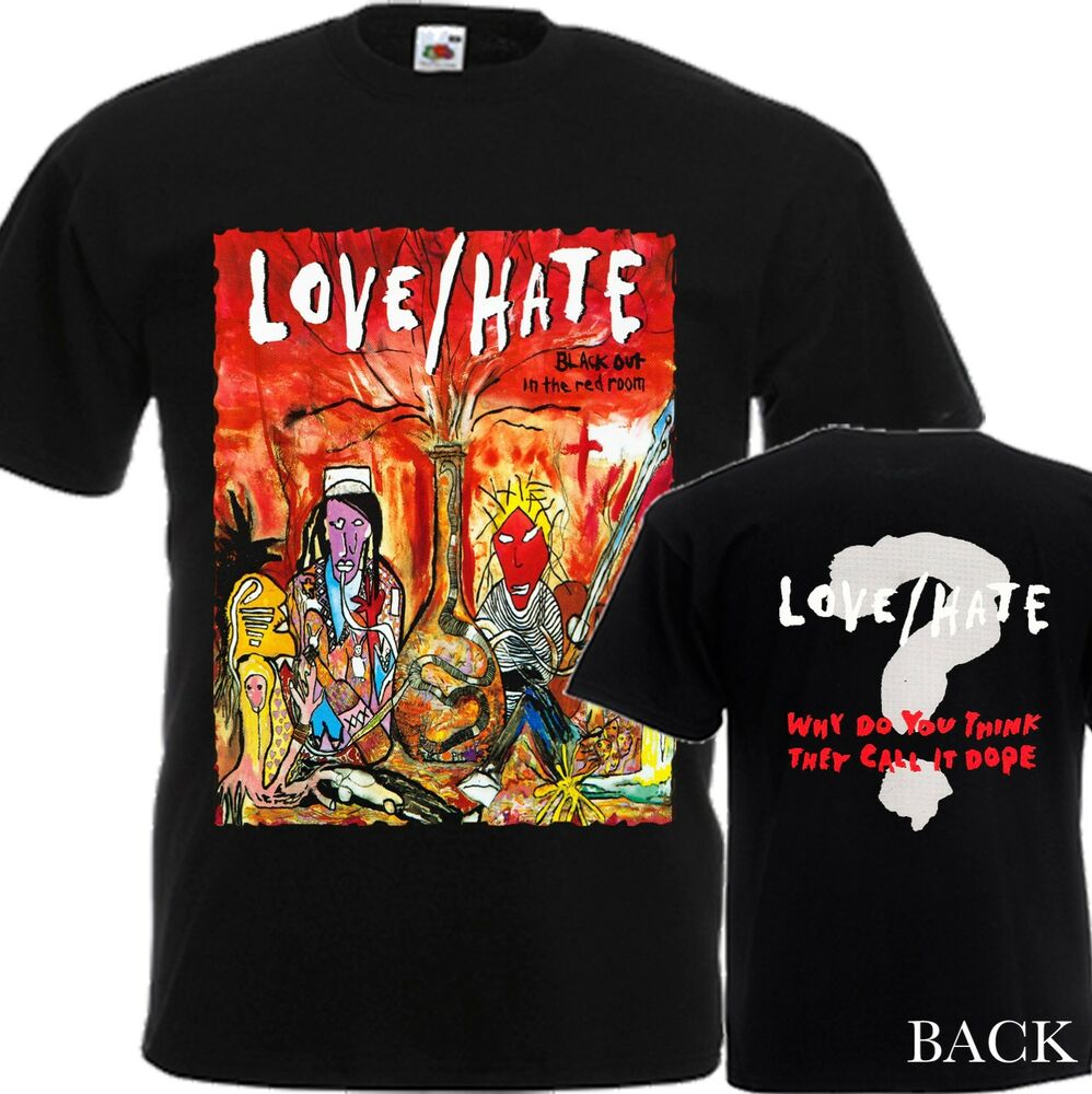 New t shirt blackout in the red room by love hate band for Dtg printed t shirts