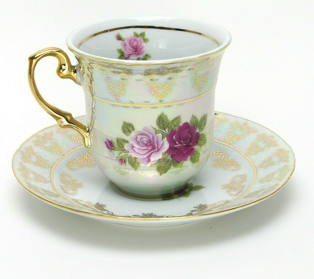 4 Pc White Coffee Tea Set 24k W Rhinestones Bone China