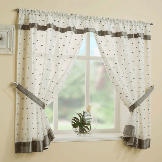 Grey Voile Kitchen Curtains Modern Net Curtain Window Set