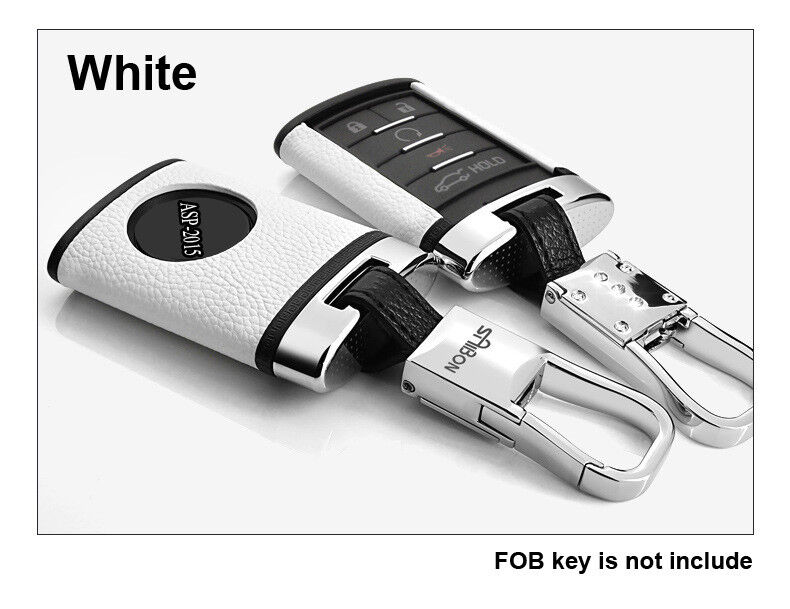 White Remote Leather Key Case Cover Shell Fit For Cadillac