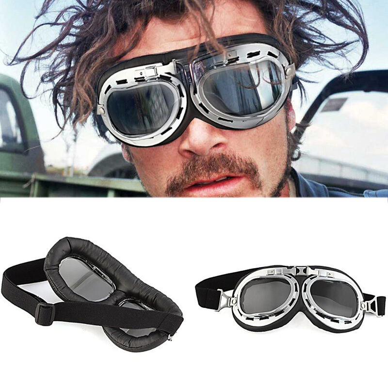 vintage lunettes casque bol moto scooter v lo goggles aviator pilot soleil racer ebay. Black Bedroom Furniture Sets. Home Design Ideas
