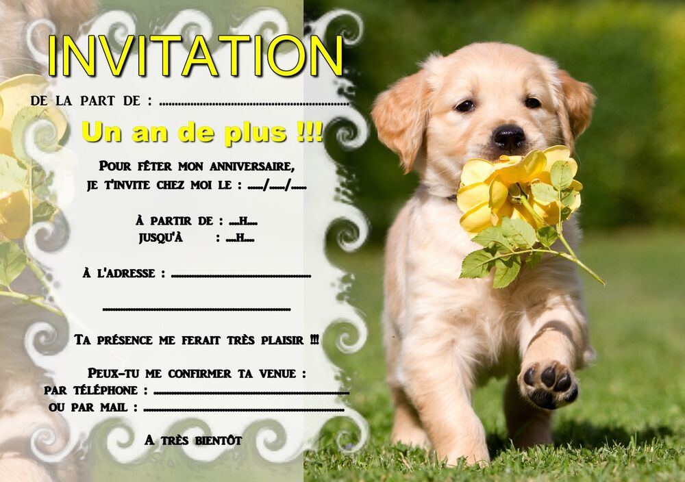 5 ou 12 cartes invitation anniversaire petit chien chiot ref 346 ebay. Black Bedroom Furniture Sets. Home Design Ideas