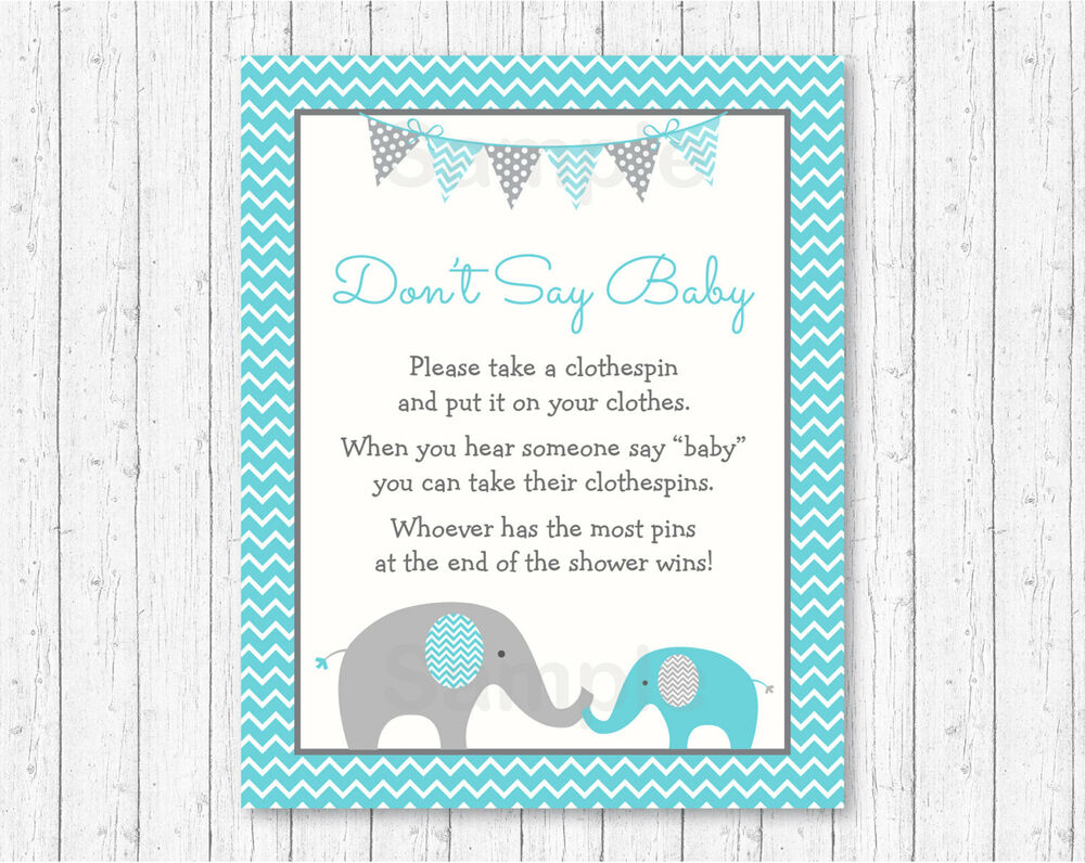 Teal Chevron Elephant Dont Say Baby Baby Shower Game