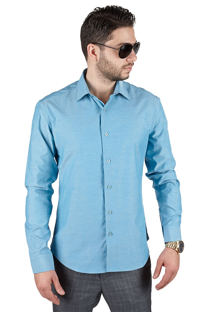 Slim tailored fit mens ocean blue dress shirt wrinkle for Spread collar slim fit dress shirts