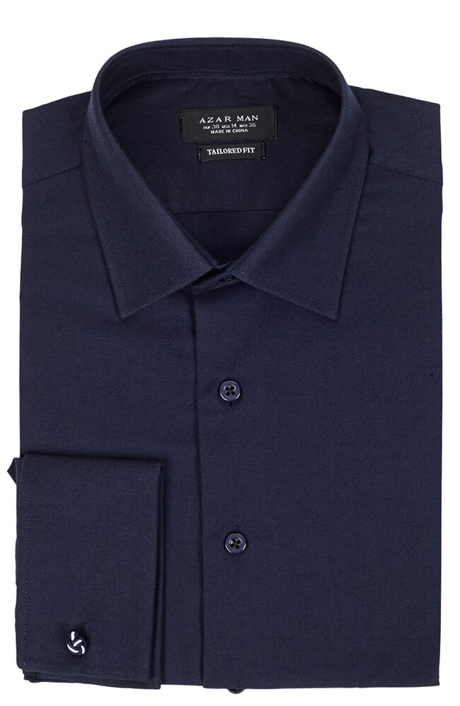 Tailored slim fit mens french cuff navy blue dress shirt for Cuff shirts for men