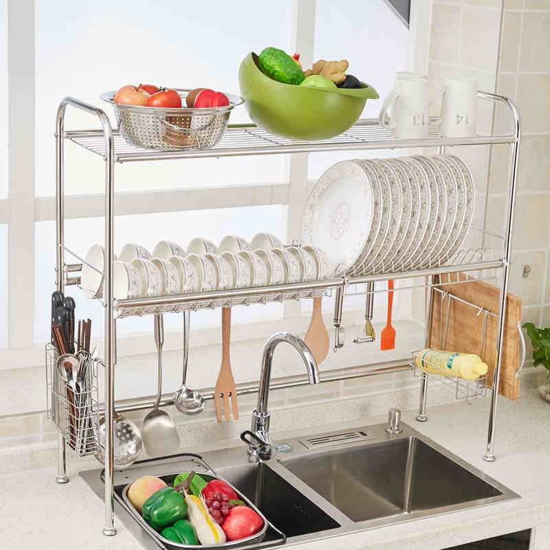 home 2 tier dish rack basics drainer chrome drying kitchen stainless steel new ebay. Black Bedroom Furniture Sets. Home Design Ideas