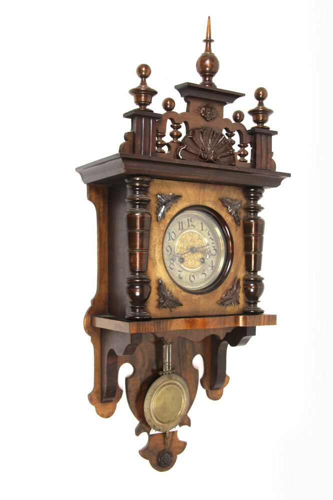 antike wanduhr regulator mit gong jugendstil pendeluhr wand uhr holz um 1908 ebay. Black Bedroom Furniture Sets. Home Design Ideas