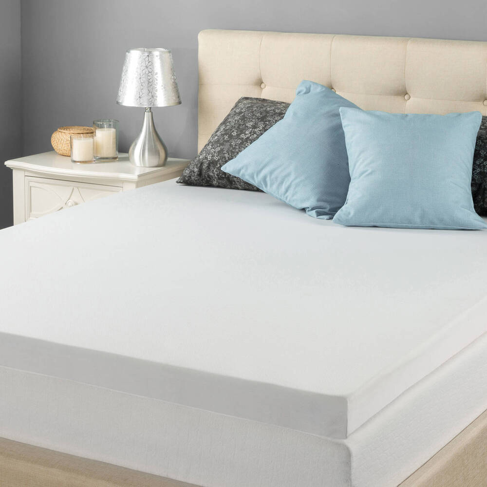 twin mattress topper memory foam pad cover protector matress bed white 3 inch 3372600351590 ebay. Black Bedroom Furniture Sets. Home Design Ideas