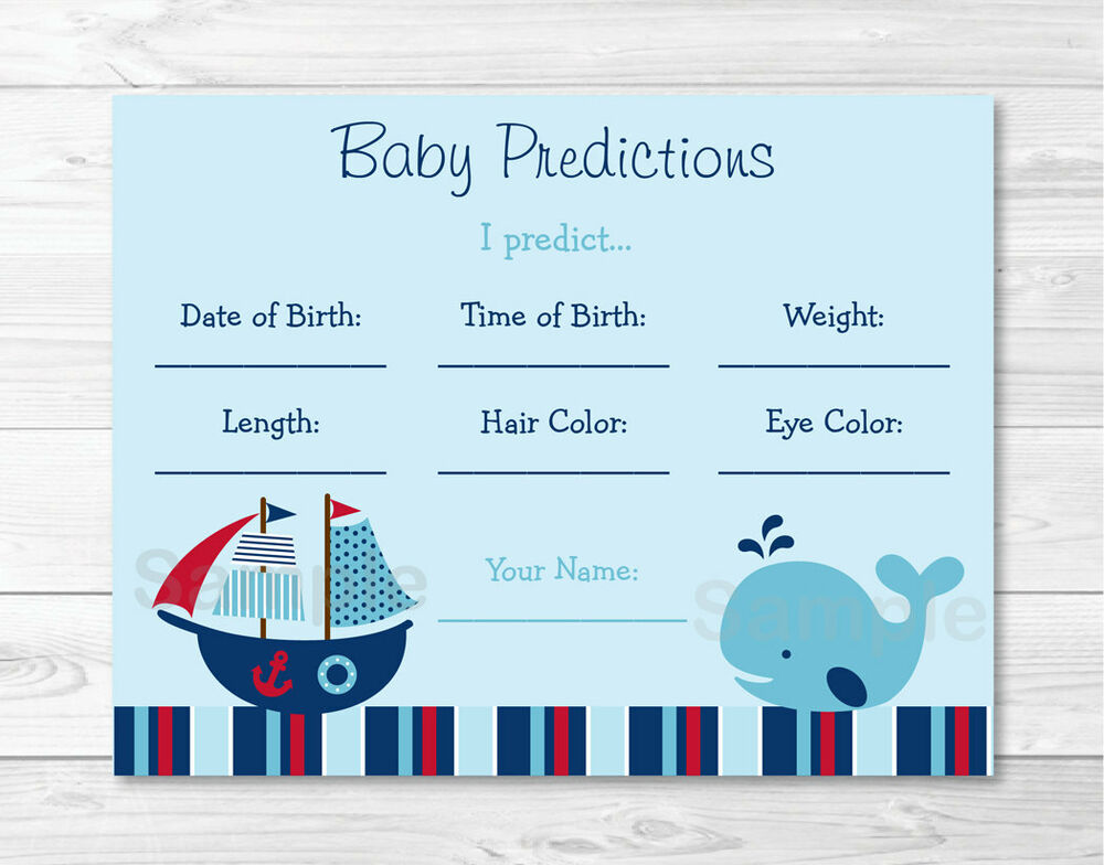 Nautical Pirate Whale Baby Shower Baby Predictions Game