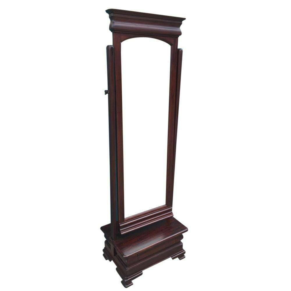 Solid Mahogany Wood Reproduction Cheval Mirror With Drawer