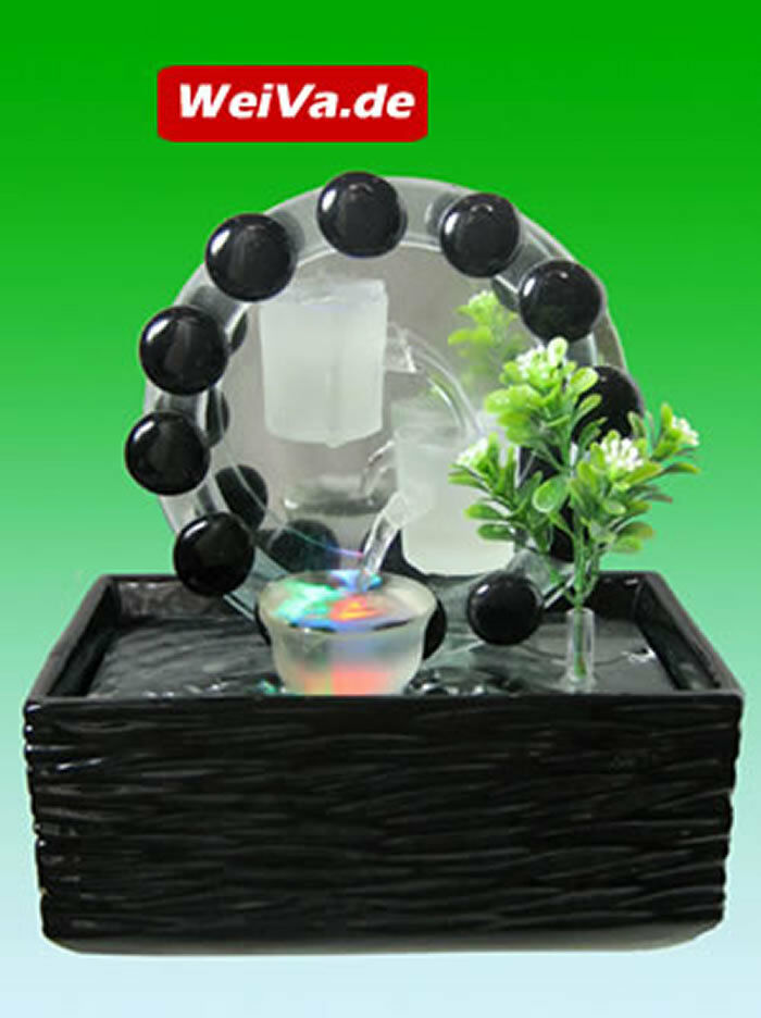 weiva feng shui keramik glas zimmerbrunnen mit led beleuchtung 516 4027949305016 ebay. Black Bedroom Furniture Sets. Home Design Ideas