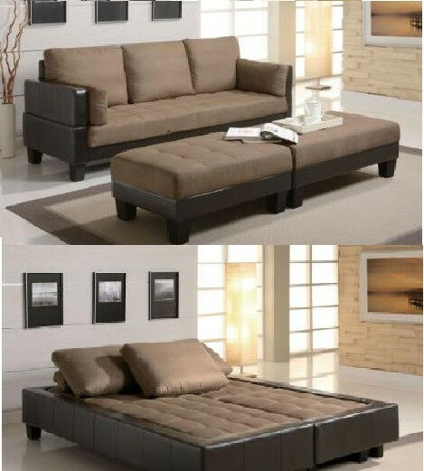 Two Tone Sofa Living Room Furniture: Two Tone Futon Contemporary Sofa Bed Group With 2 Ottomans