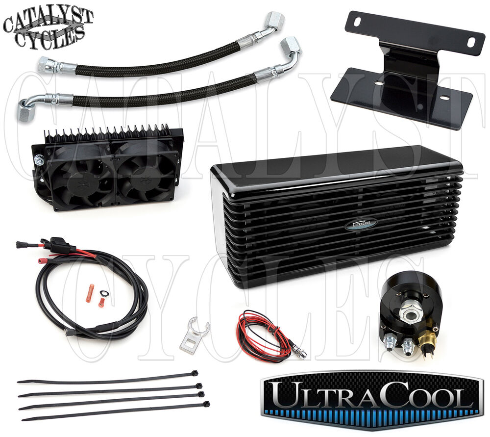 Harley Engine Cooler : Black ultracool the reefer oil cooler dual fan