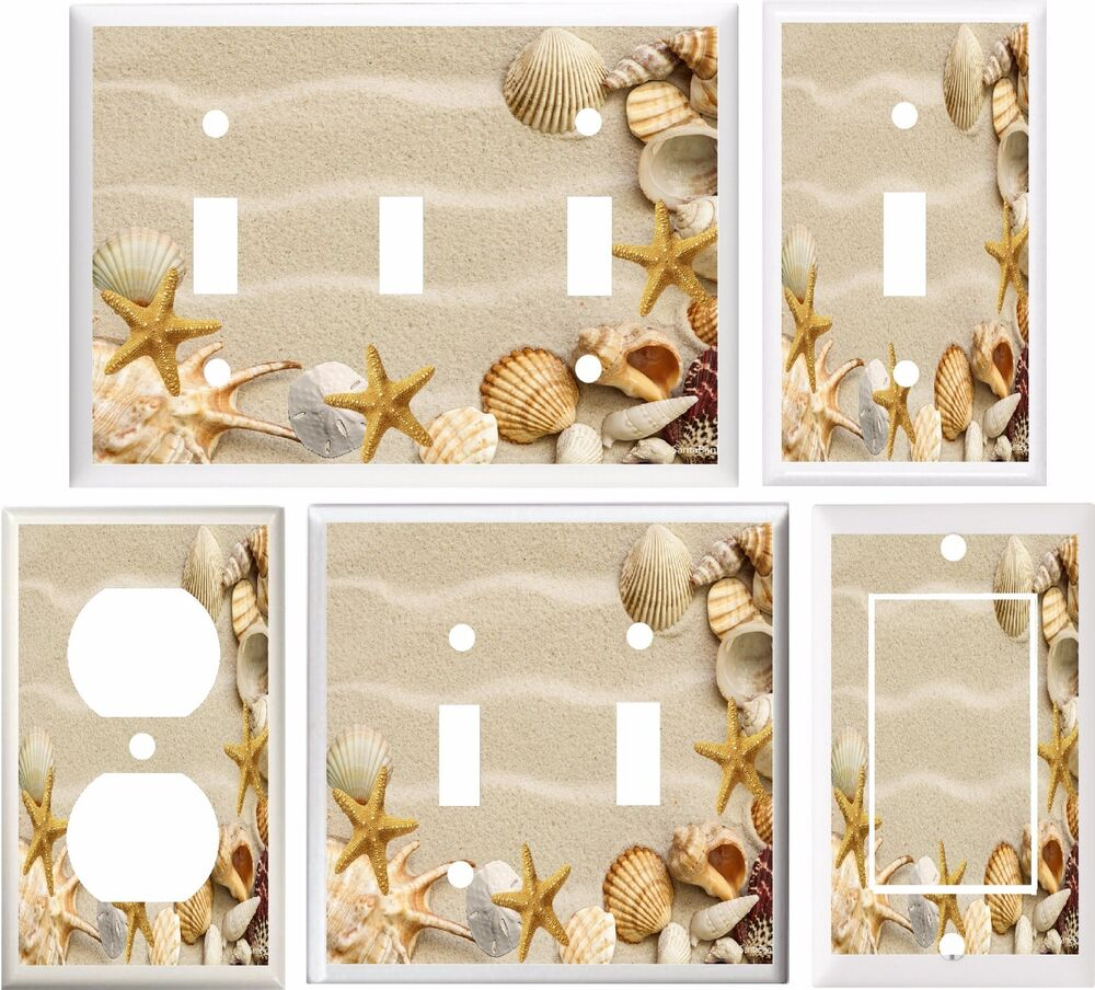 Seashells Starfish Beach Light Switch Plate Cover Or