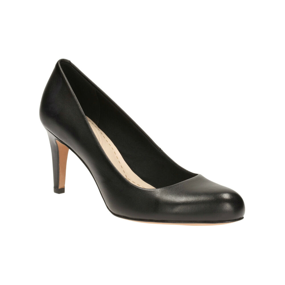 Black Leather Wedge Court Shoes