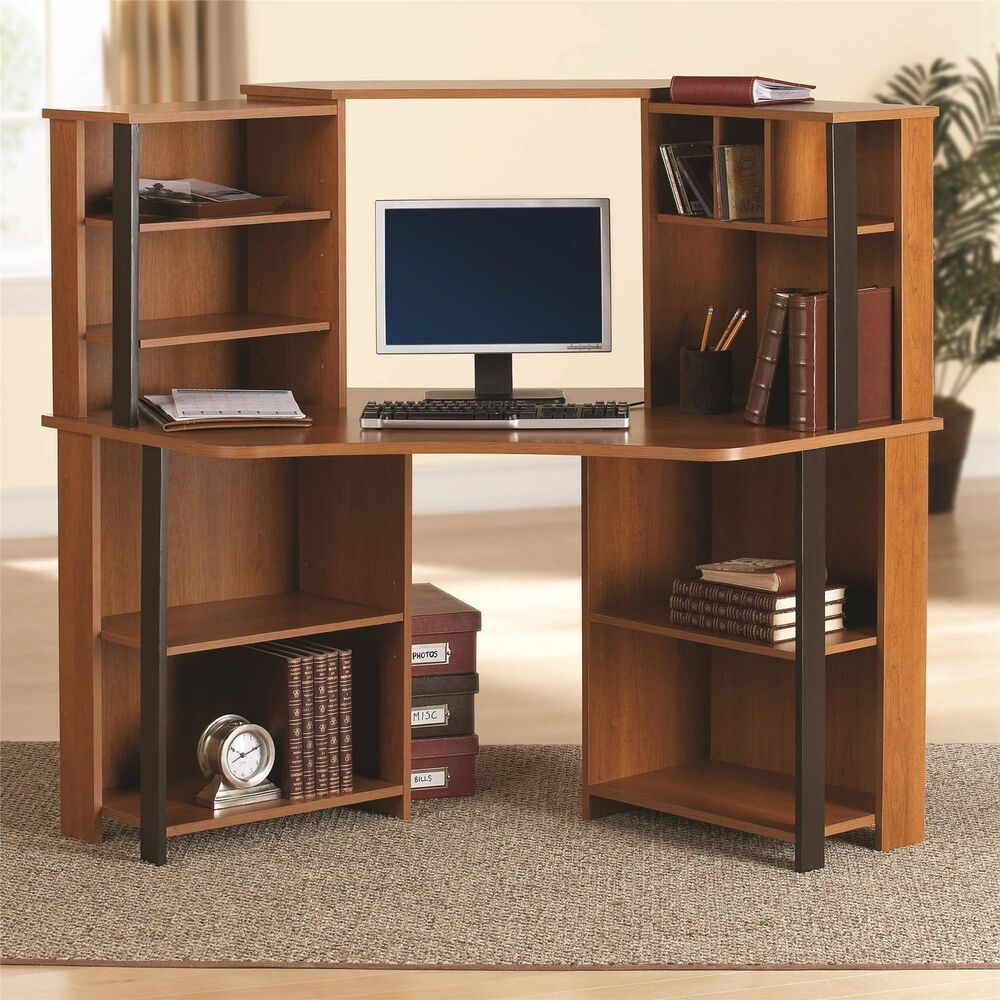 Office corner computer desk with hutch workstation storage shelves dorm wood ebay - Corner desks with shelves ...