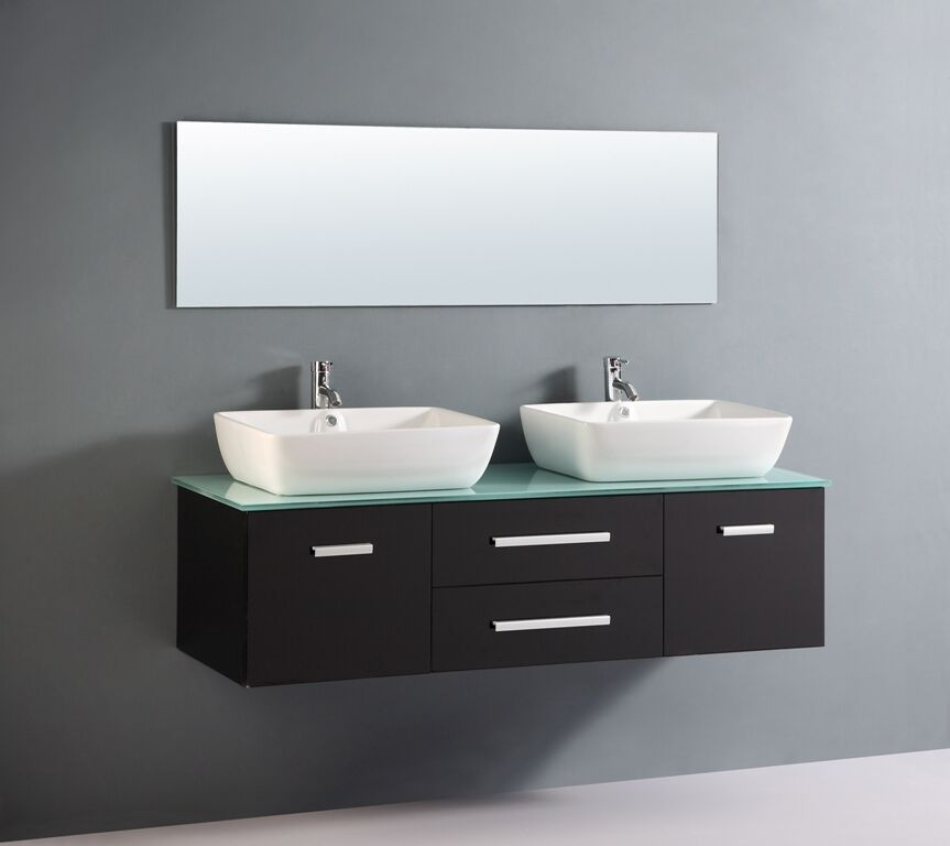 Bathroom cabinet double basin with glass top bench luxury for Bathroom cabinets ebay australia