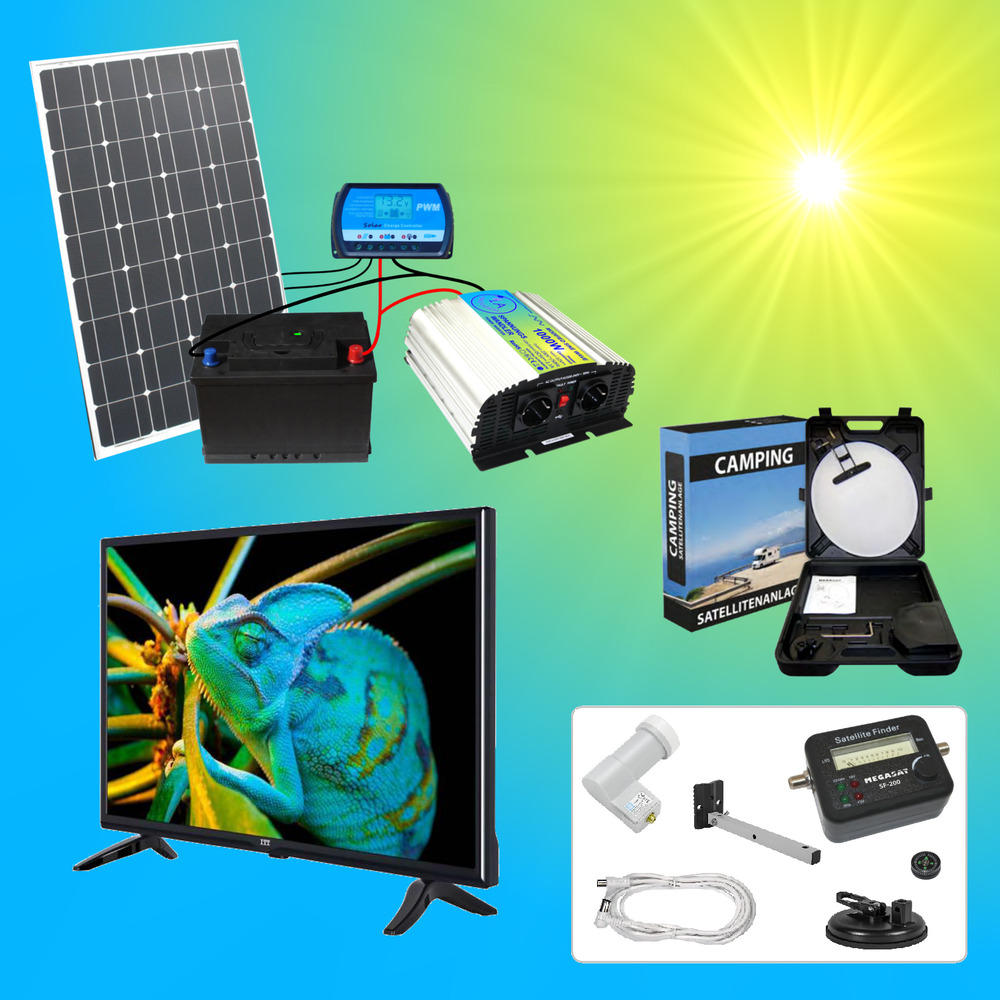 komplette 220v tv sat solaranlage 100w inkl fernseher itt solarmodul solarpanel ebay. Black Bedroom Furniture Sets. Home Design Ideas