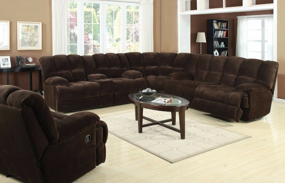 Reclining Sectional Sofa Set Chocolate Champion Fabric