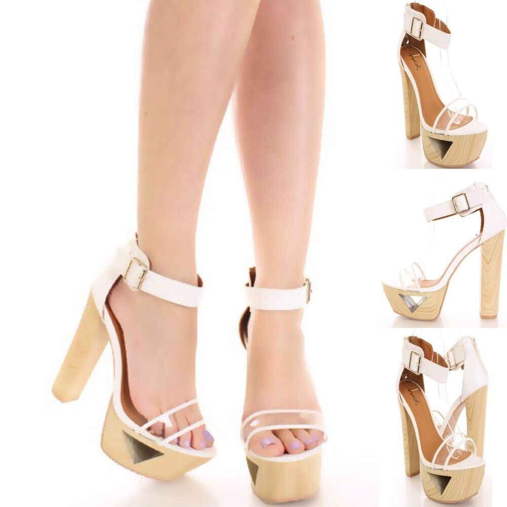 Sexy Open Toe Wooden Cut Out Chunky High Heels Platform ...