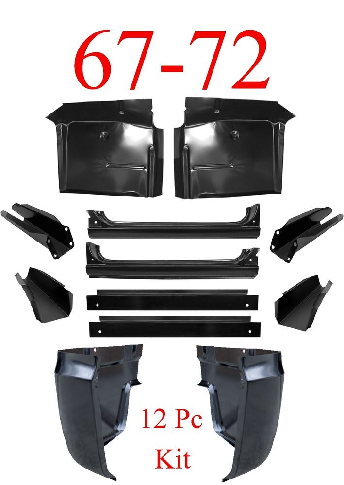 67 72 chevy 12pc cab repair kit x rocker cab corner inner floor supports ebay. Black Bedroom Furniture Sets. Home Design Ideas