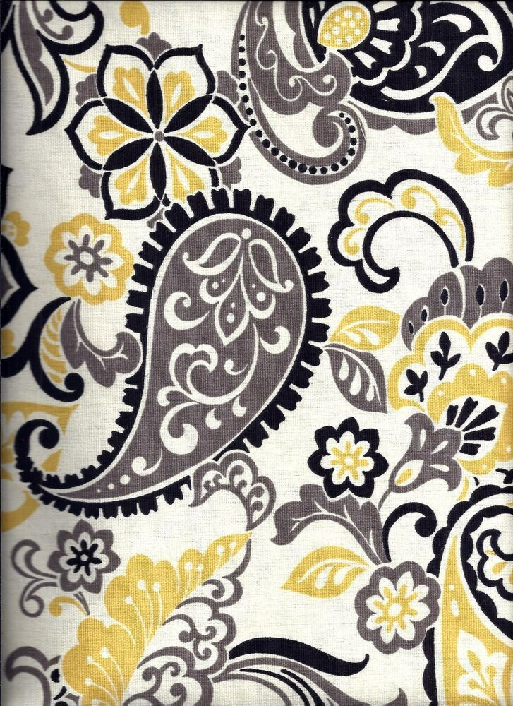 yellow and black paisley curtain valance ebay. Black Bedroom Furniture Sets. Home Design Ideas