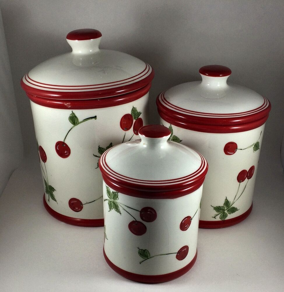 kitchen canisters home brand white ceramic cherry motif canister set 3 piece