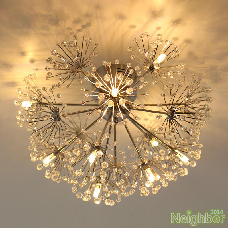 Crystal Dandelion 9 LED Ceiling lamp Chandelier Pendant ...