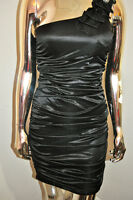 SEXY BLACK RUCHED ONE SHOULDER LACE STONE DETAILED BOMBSHELL ROCKER DRESS M
