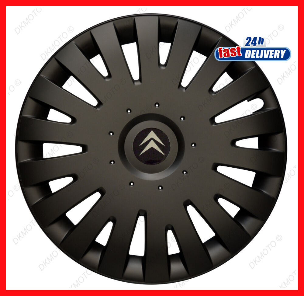 4x14 wheel trims for citroen c1 c2 c3 saxo berlingo 14 black matt ebay. Black Bedroom Furniture Sets. Home Design Ideas