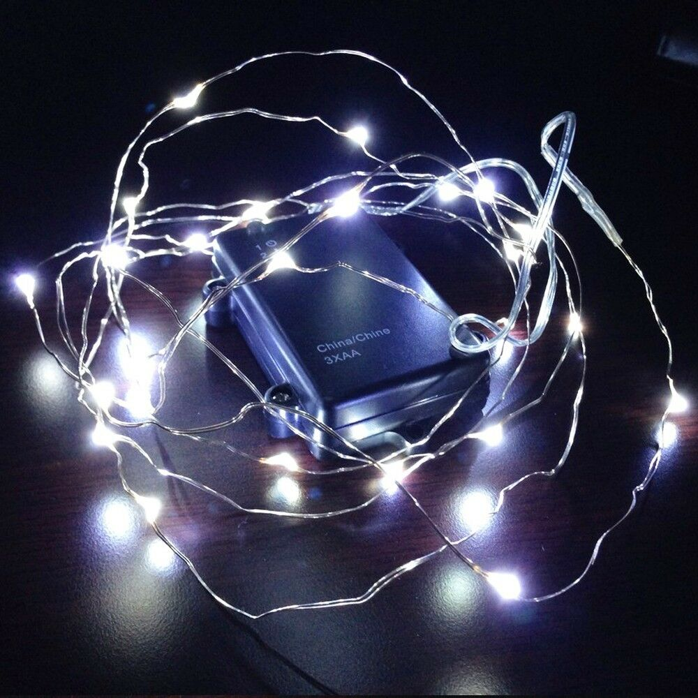10ft fairy led wire string lights pure white battery. Black Bedroom Furniture Sets. Home Design Ideas