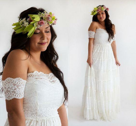 Plus Size Lace Strapless Bridal Gown White Ivory Beach