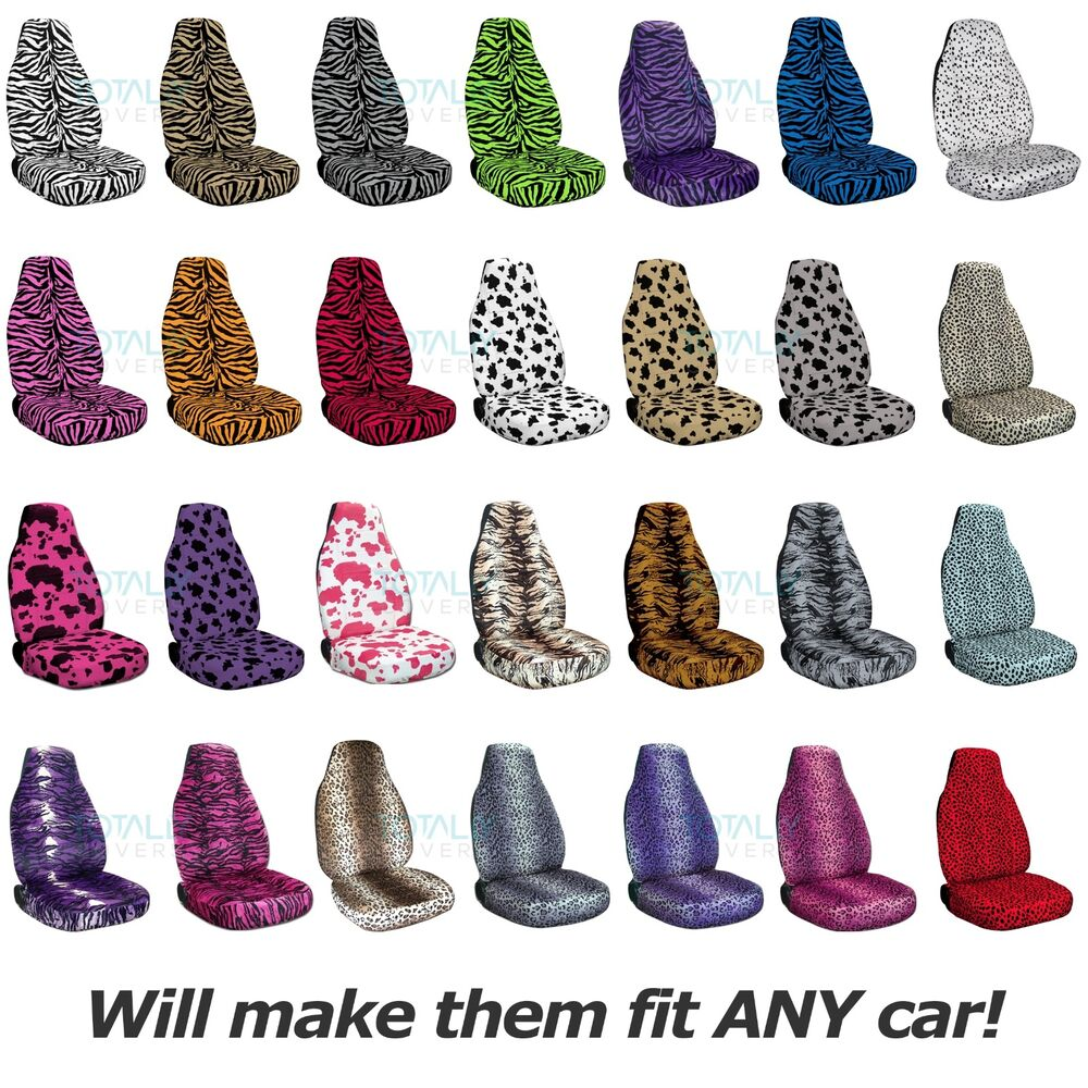 animal print car seat covers front semi custom zebra cow leopard tiger bug ebay. Black Bedroom Furniture Sets. Home Design Ideas