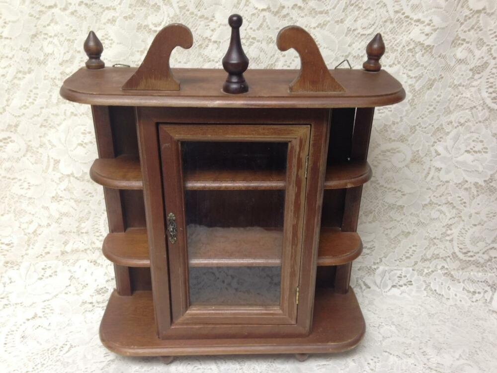 Vintage small wooden display or curio cabinet in