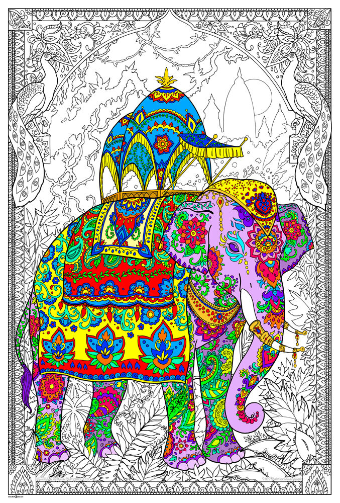 Painted Elephant - Giant Coloring Poster (32½ x 22 Inches ...