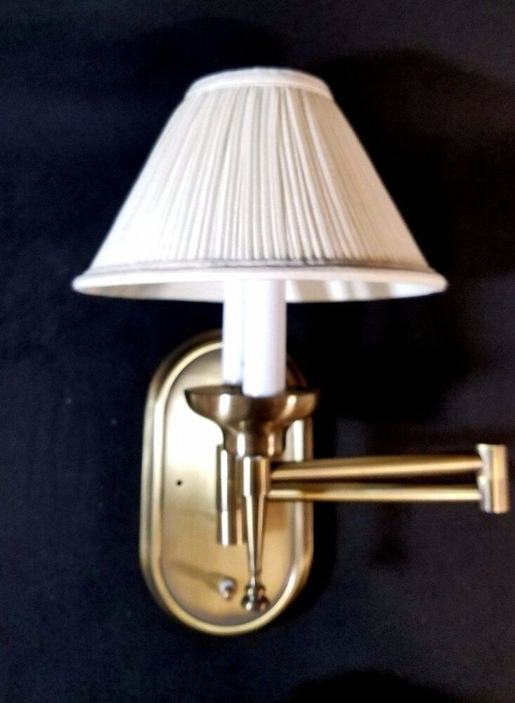 Cream Wall Lamp Shades : BRASS Swing Arm RV Wall Lamp with Pleated Cream Shade Optronics NEW 12VDC eBay