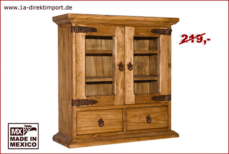 mexico hacienda h ngeschrank h ngevitrine vitrine schrank pinie massiv m bel ebay. Black Bedroom Furniture Sets. Home Design Ideas