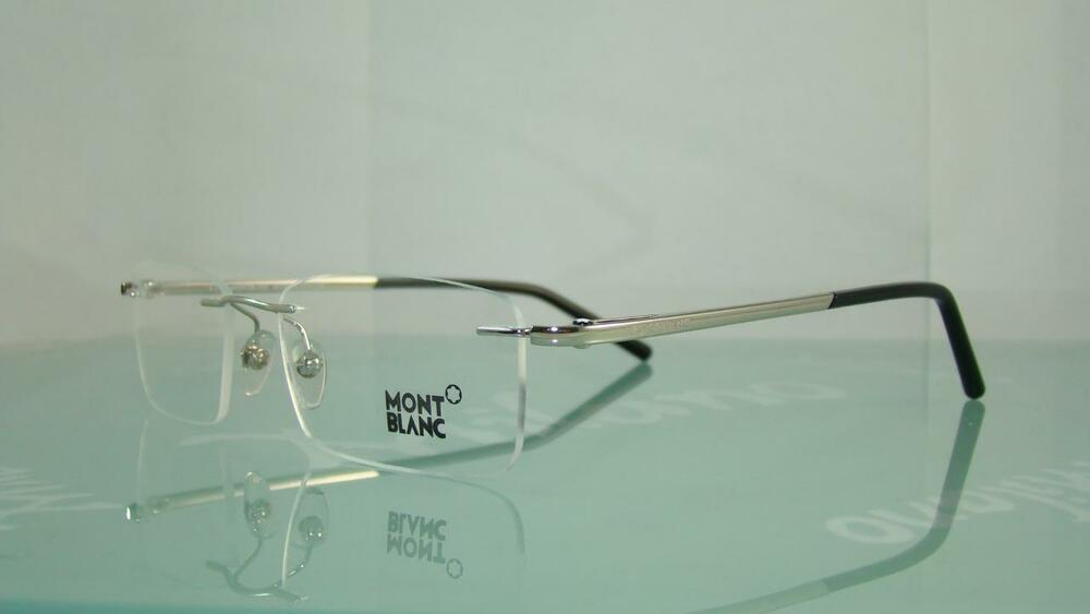 Rimless Glasses Compression Sleeves : MONT BLANC MB 293 018 SILVER Rimless Frames Glasses ...